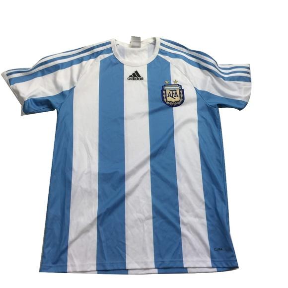 Adidas Striped AFA Argentina Soccer Jersey M Messi